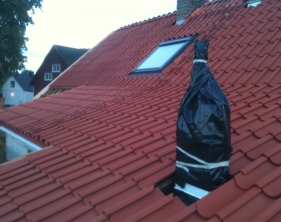 10 Tegel baksida med takfönster och takstege